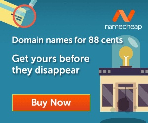 Domain names for 88 cents on NameCheap